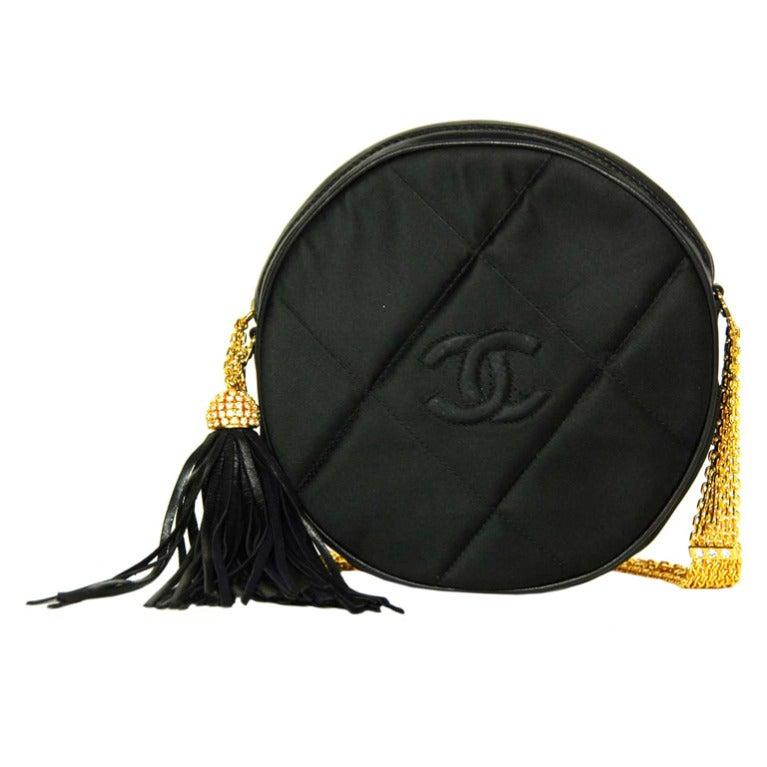 CHANEL Black Satin Circular Quilted Bag W. Gold Chain Strap & Tassel c. 1986 1