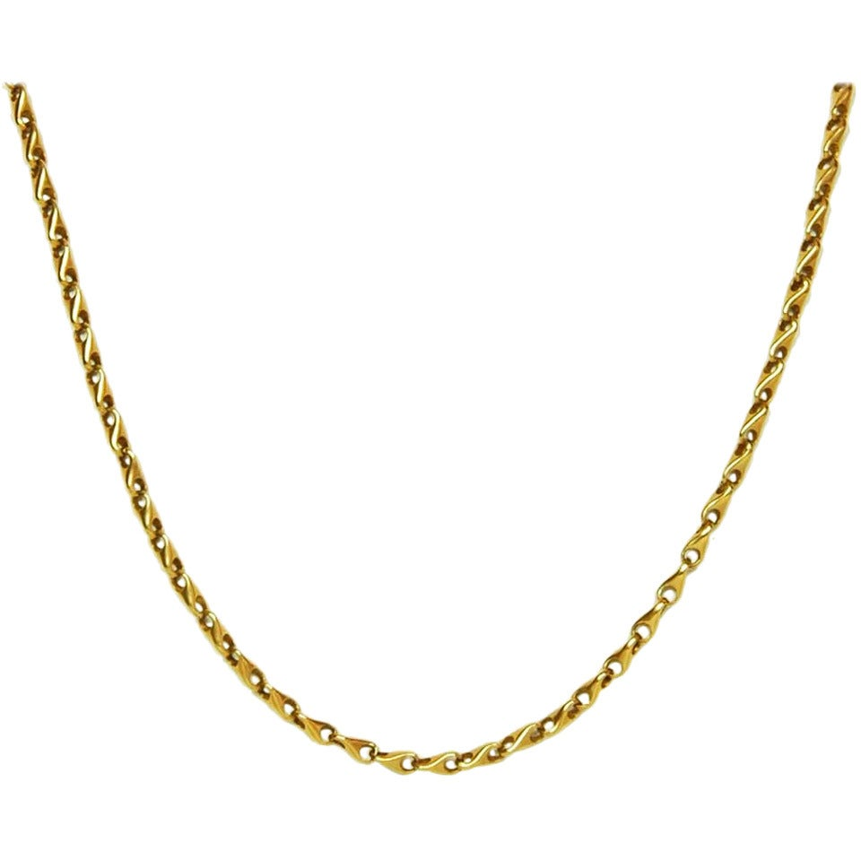 GUCCI Vintage Solid 18K Gold Chain Link Necklace c. 1970s