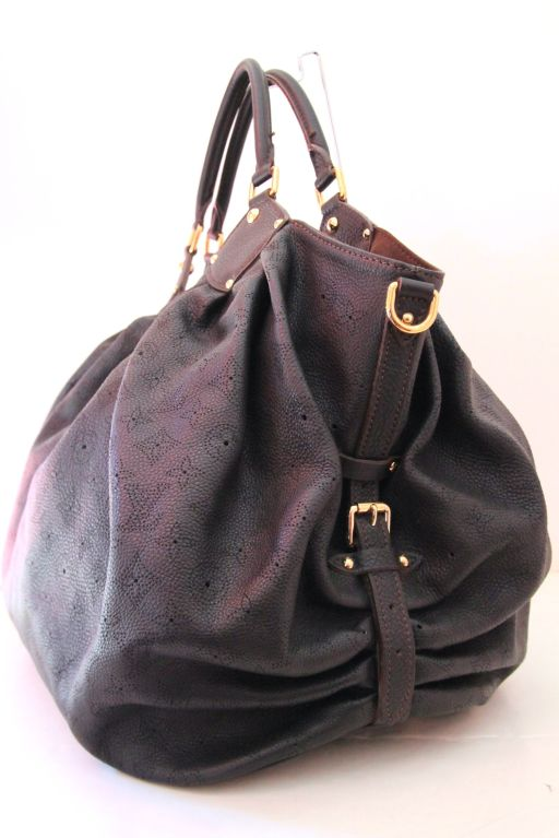 louis vuitton black leather perforated mongram mahina xxl bag at 1stdibs