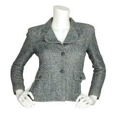 CHANEL Blue & White Cropped Tweed Jacket W. Zippered Sleeves Sz. 38