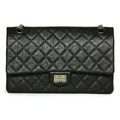 CHANEL Black Distressed Leather Quilted Reissue 2.55 226 Flap Bag
