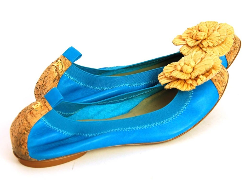 chanel turquoise leather and cork ballet flats shoes w
