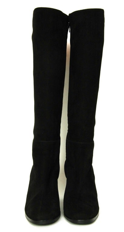 CHANEL Black Suede Stacked Heel Boots - Sz 6.5 3