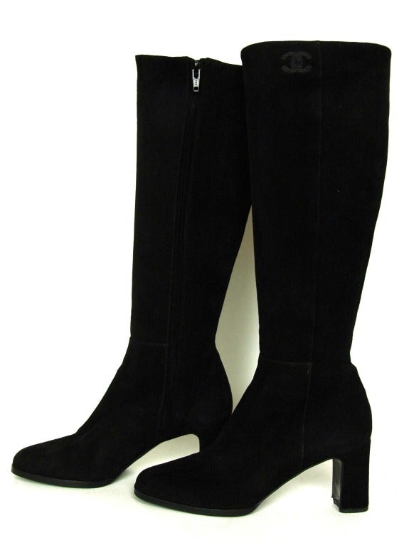 CHANEL Black Suede Stacked Heel Boots - Sz 6.5 5