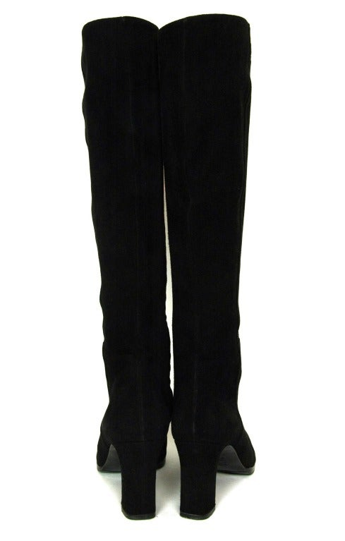 CHANEL Black Suede Stacked Heel Boots - Sz 6.5 6