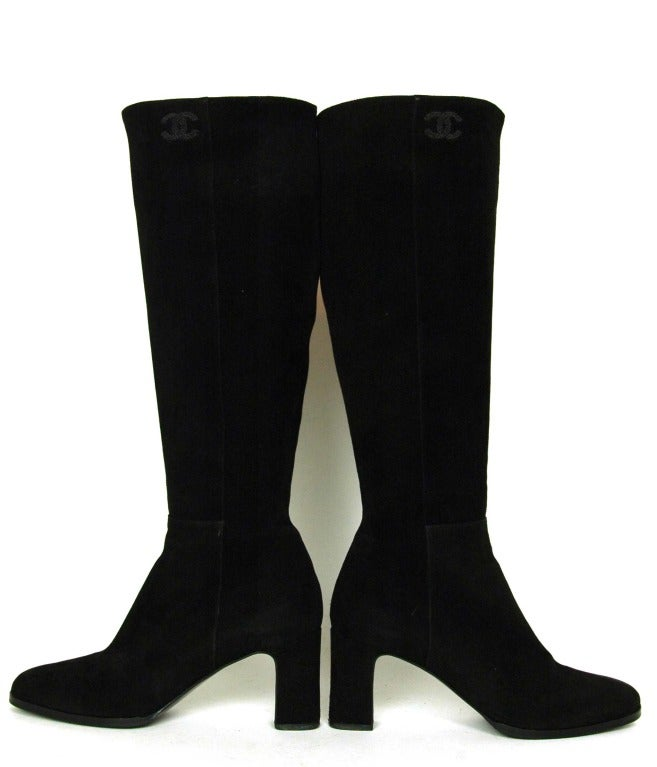 CHANEL Black Suede Stacked Heel Boots - Sz 6.5 2