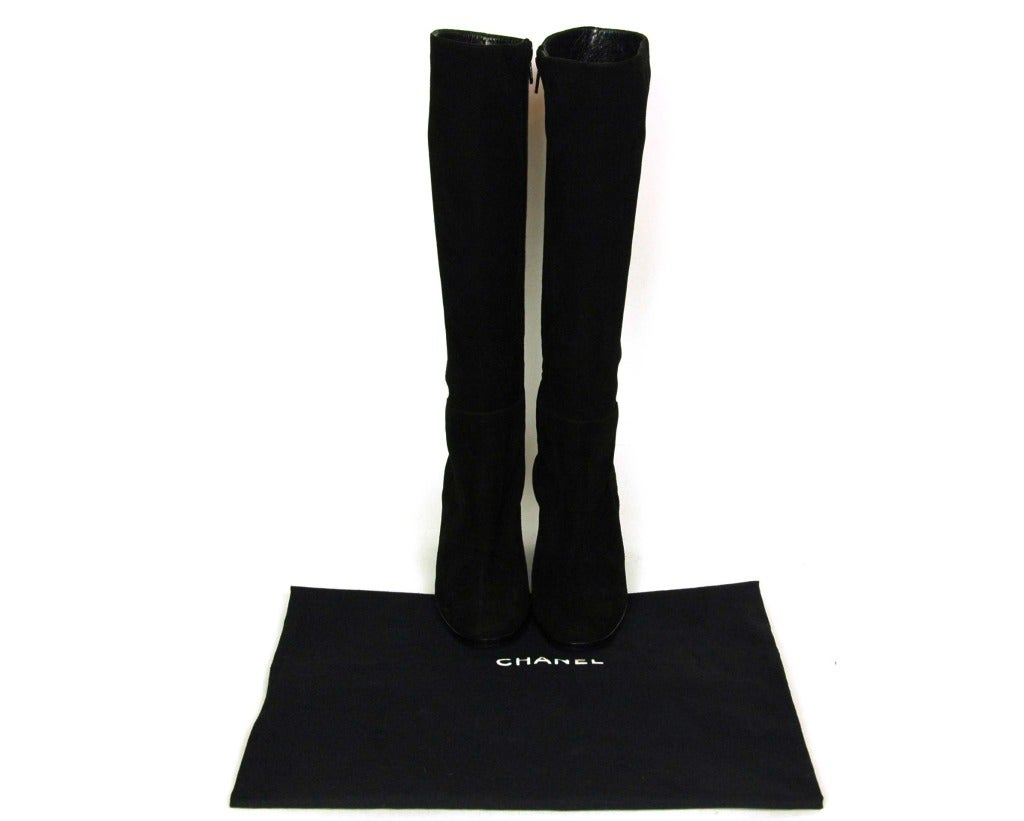 CHANEL Black Suede Stacked Heel Boots - Sz 6.5 9