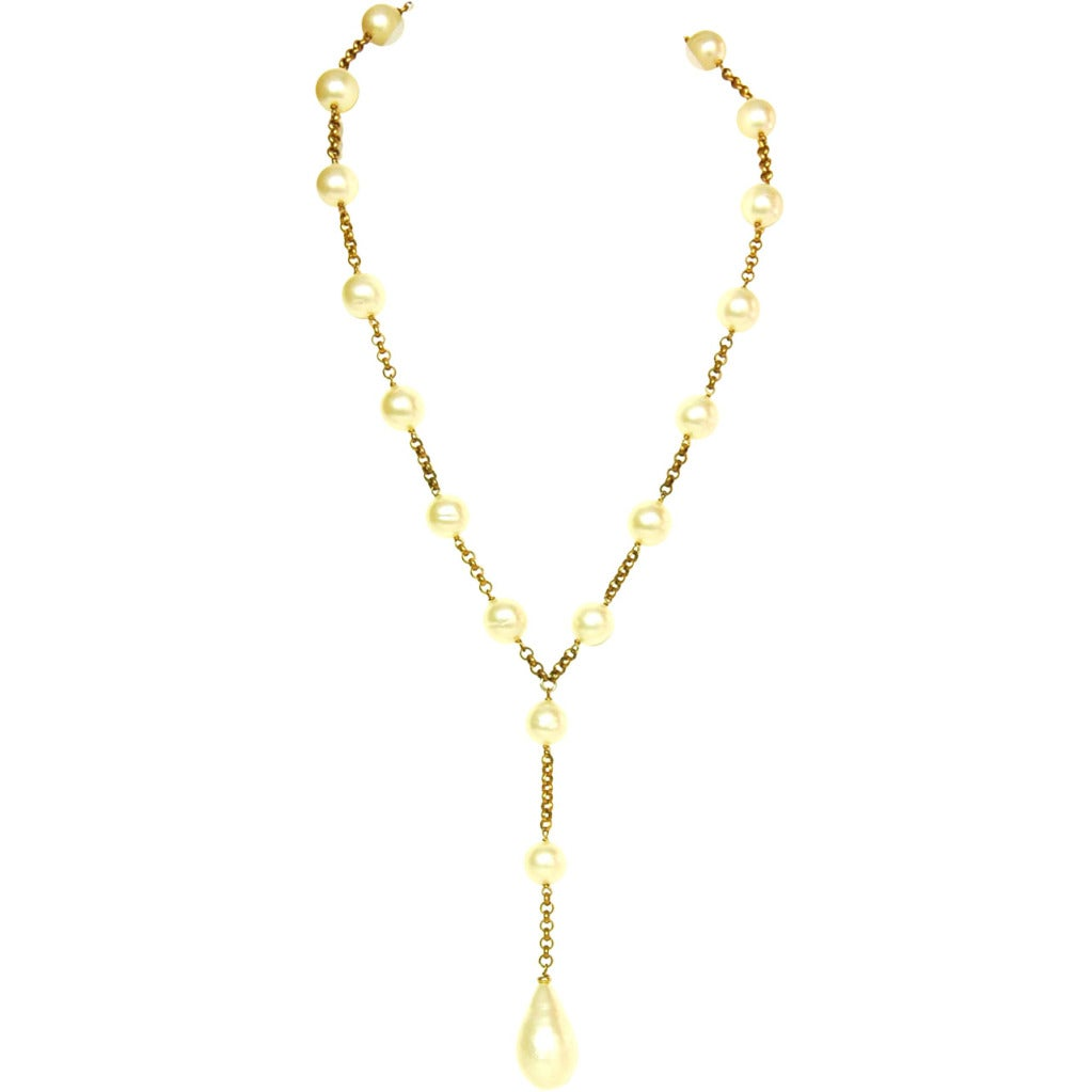 chanel faux pearl and goldtone chainlink drop necklace at