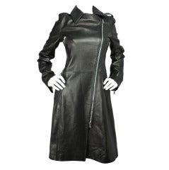 Dolce & Gabbana Black Leather Trench Coat w. Leopard Lining - sz.42