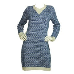 CHANEL Blue & White Printed Cashmere Sweater Dress Sz. 40