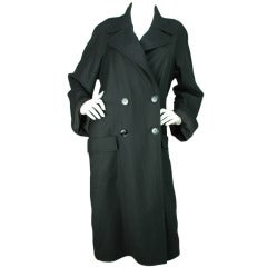 Chanel 2012 Oversized Double Breasted Black Wool Trench Coat -sz.40 - rt$5,235