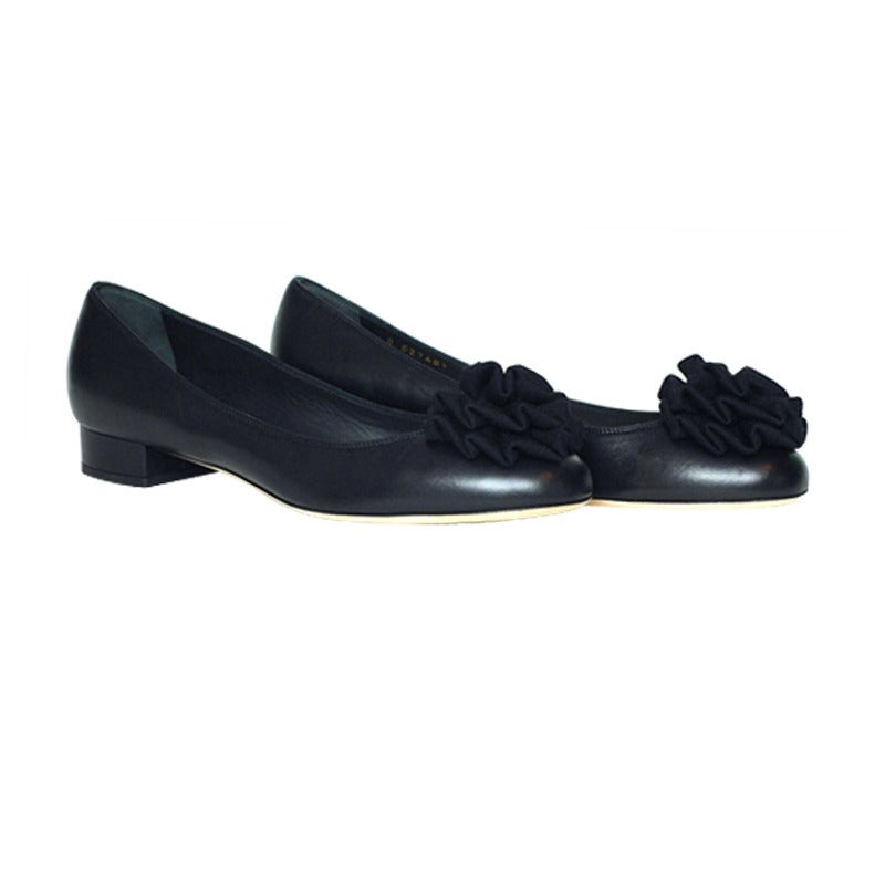 chanel black leather flat shoes with fabric flower size