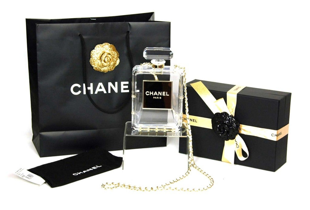 CHANEL Clear Plexiglass 'No. 5' Perfume Bottle Clutch W. Chain Strap c. 2014 2