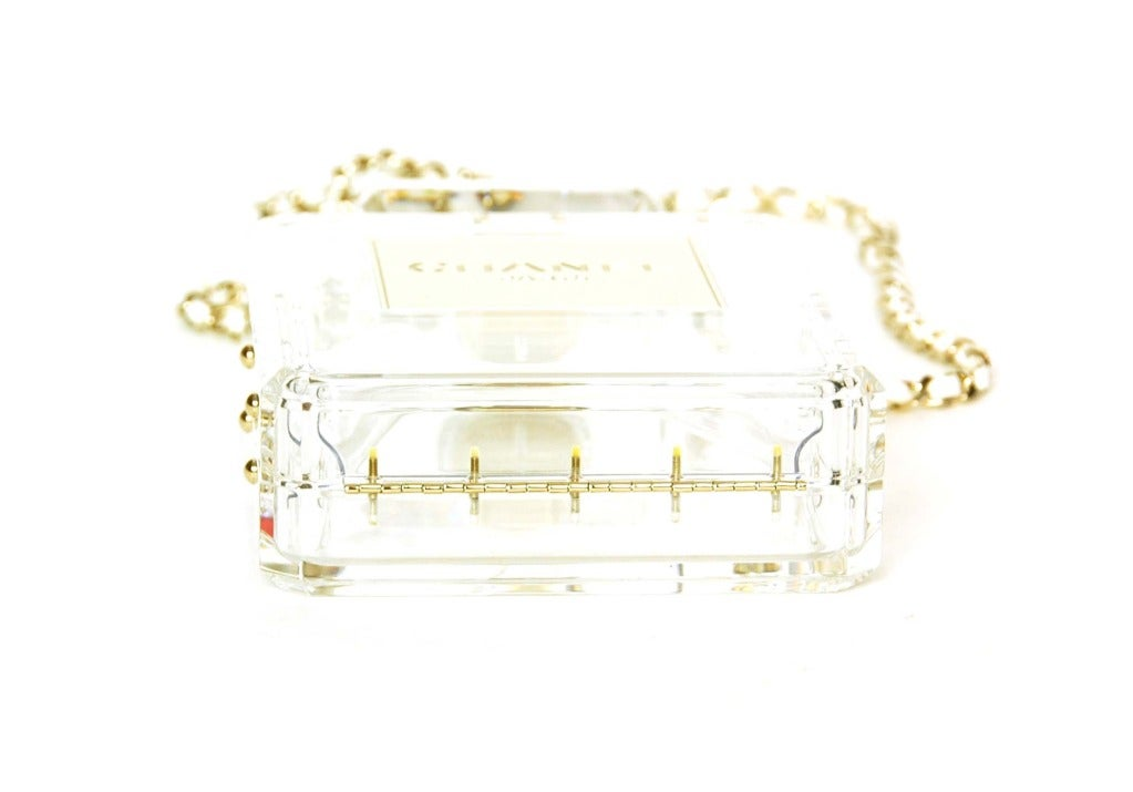 CHANEL Clear Plexiglass 'No. 5' Perfume Bottle Clutch W. Chain Strap c. 2014 6