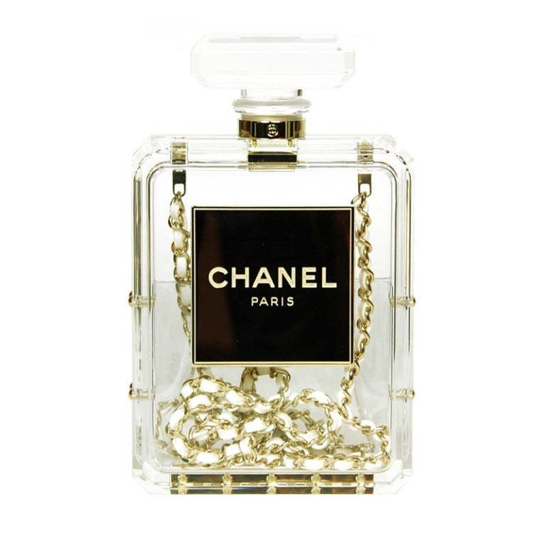 CHANEL Clear Plexiglass 'No. 5' Perfume Bottle Clutch W. Chain Strap c. 2014 1