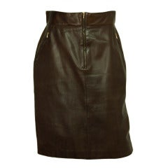 CHANEL Brown Leather Skirt With Buttons At Back Slit, sz 44