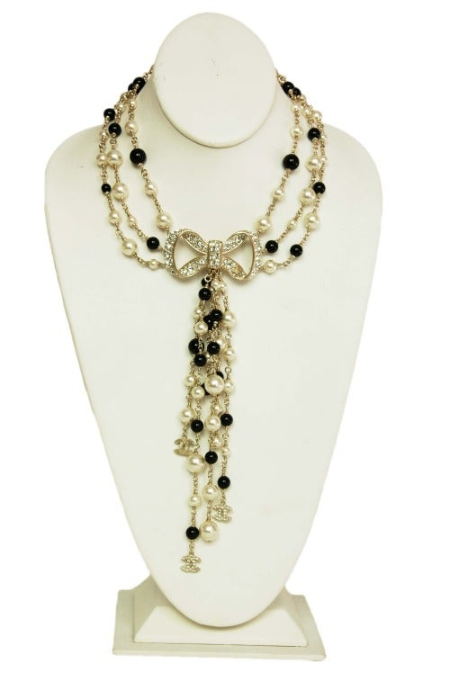 CHANEL NWT Black Bead & White Pearl Multistrand Choker Necklace W. Rhinestone Bow & Dangling Strands c. 2010 2