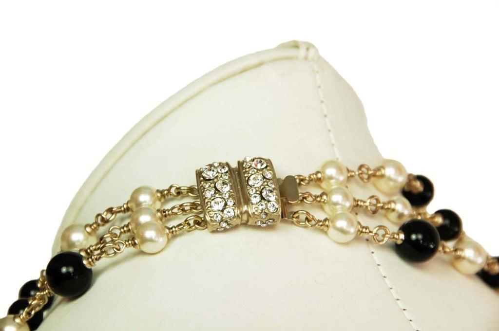 CHANEL NWT Black Bead & White Pearl Multistrand Choker Necklace W. Rhinestone Bow & Dangling Strands c. 2010 4