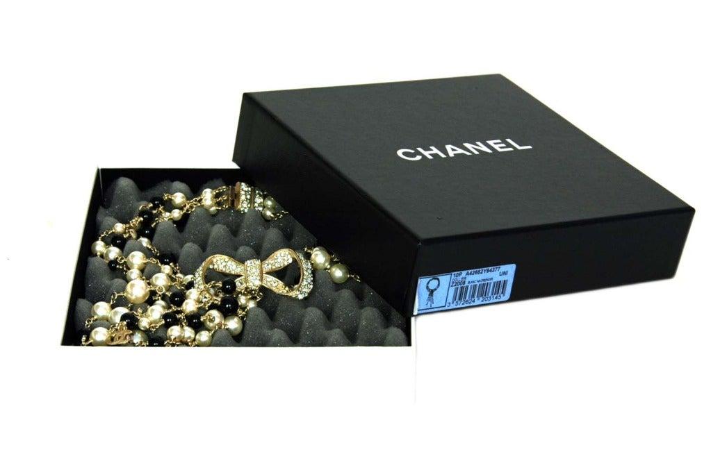 CHANEL NWT Black Bead & White Pearl Multistrand Choker Necklace W. Rhinestone Bow & Dangling Strands c. 2010 6