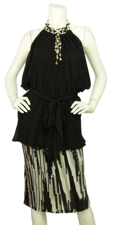 CHANEL NWT Black Bead & White Pearl Multistrand Choker Necklace W. Rhinestone Bow & Dangling Strands c. 2010 9