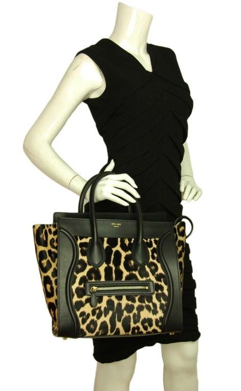 Celine Leopard Print Ponyhair & Leather Mini Luggage Tote Bag Rt. $4,400 image 10