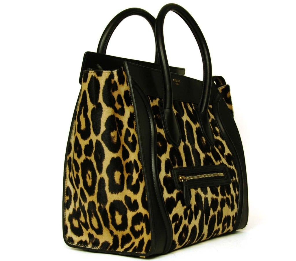authentic celine luggage bag - Celine Leopard Print Ponyhair and Leather Mini Luggage Tote Bag Rt ...