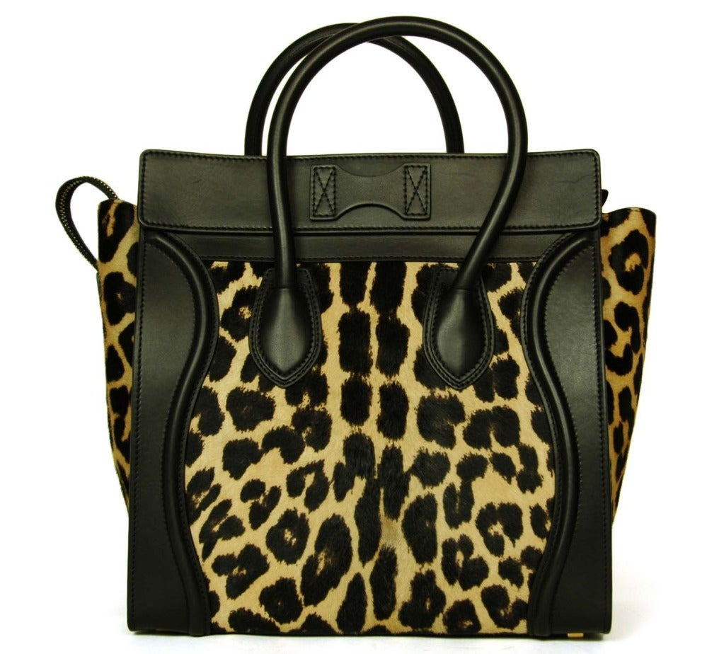 734f3cece7e3 Celine Leopard Print Ponyhair & Leather Mini Luggage Tote Bag Rt. $4,400 In  Excellent Condition