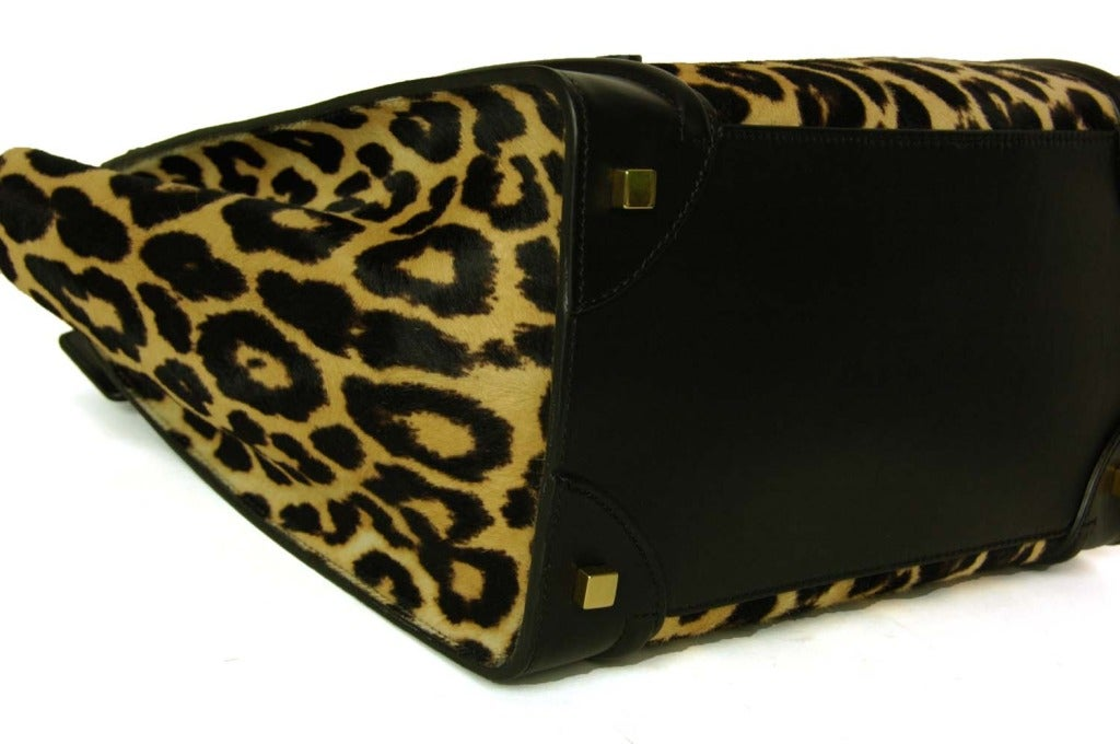 celine leopard print pony hair envelope luggage tote bag
