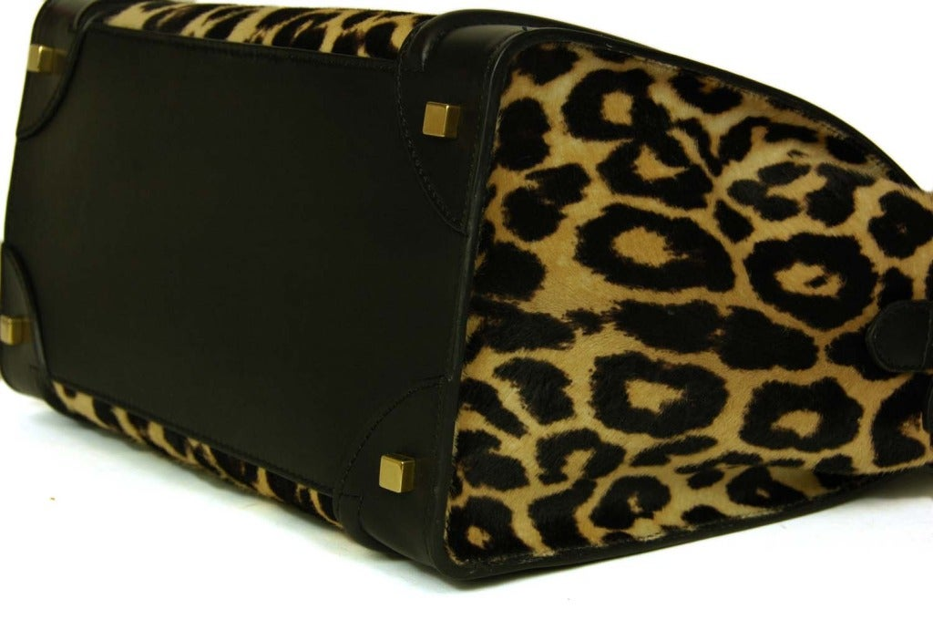who carries celine bags - Celine Leopard Print Ponyhair and Leather Mini Luggage Tote Bag Rt ...