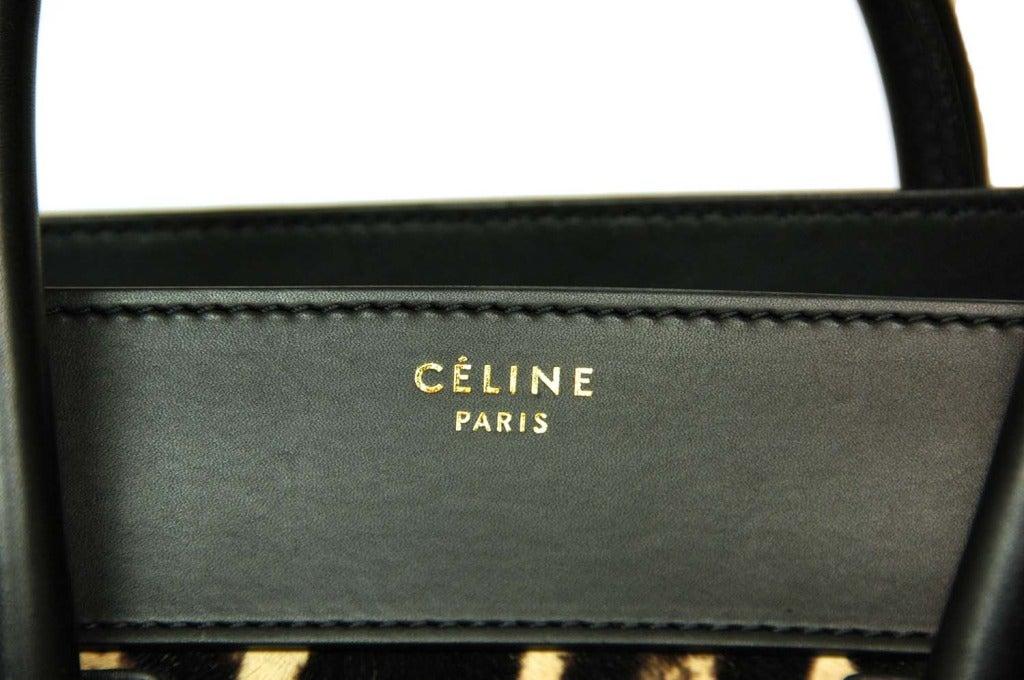 Celine Leopard Print Ponyhair & Leather Mini Luggage Tote Bag Rt. $4,400 image 6