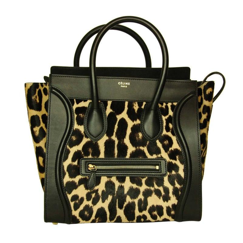 Celine Leopard Print Ponyhair & Leather Mini Luggage Tote Bag Rt. $4,400