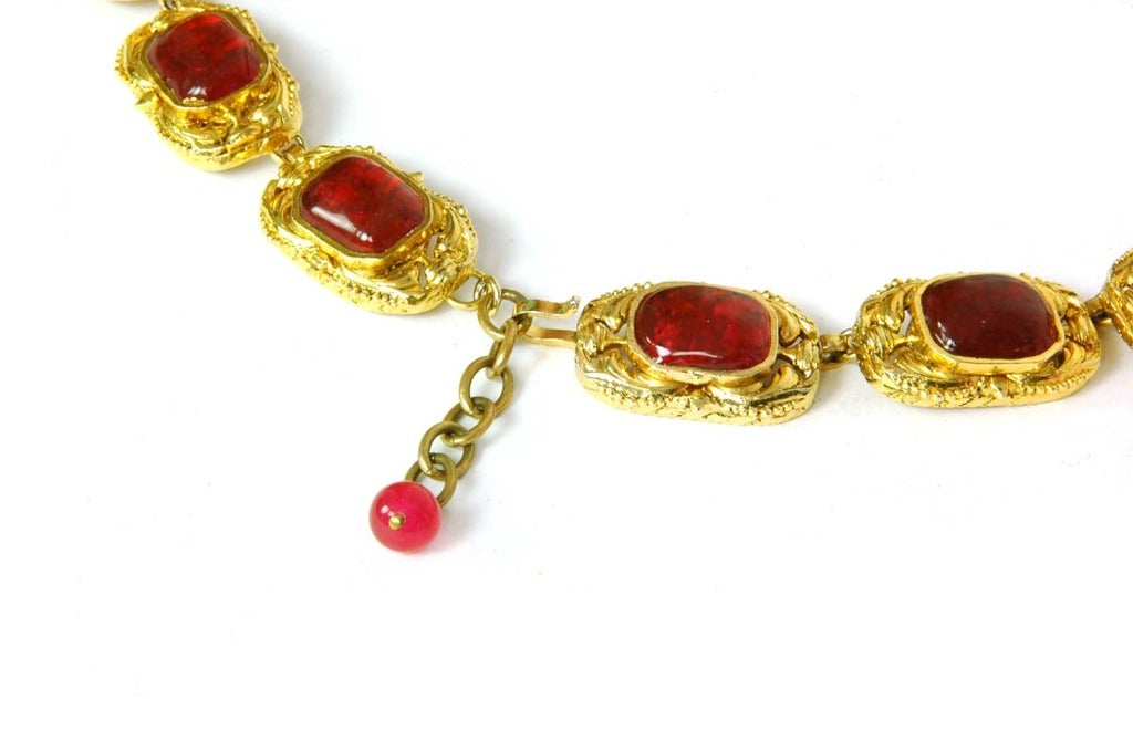 CHANEL Goldtone Necklace With Red and Green Gripoix Medallions c. 1970s/80s 3