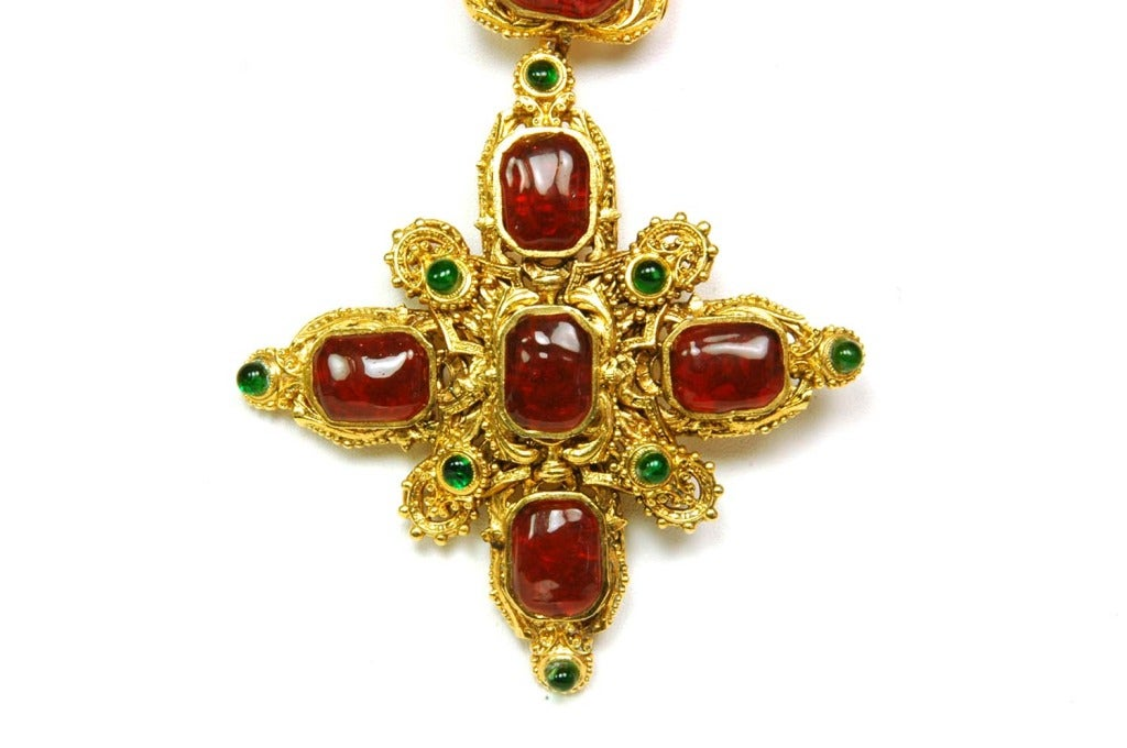 CHANEL Goldtone Necklace With Red and Green Gripoix Medallions c. 1970s/80s 2
