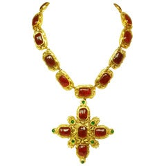 CHANEL Goldtone Necklace With Red and Green Gripoix Medallions c. 1970s/80s