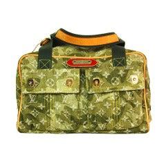 Louis Vuitton Ltd Edition Green Denim Murakami Monogramoflage Lys Tote Bag