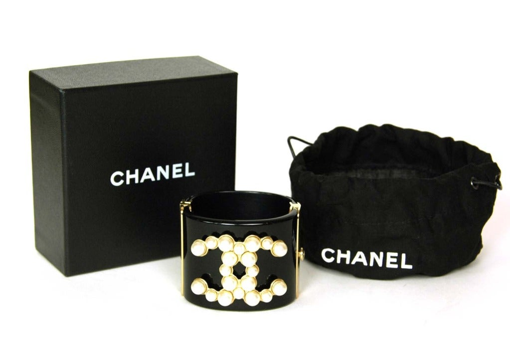 CHANEL Black Resin Clamper Cuff W. Faux Pearl CC & Gold Hinges c. 2013 2