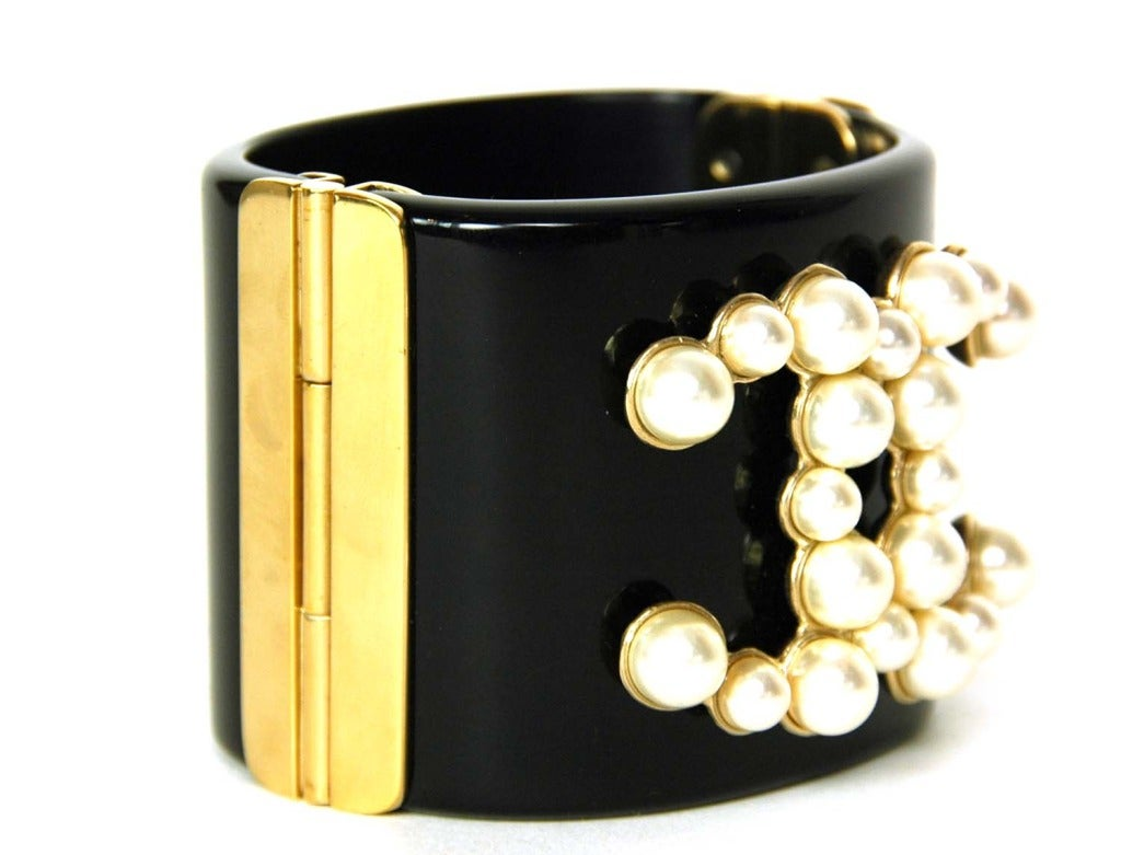 CHANEL Black Resin Clamper Cuff W. Faux Pearl CC & Gold Hinges c. 2013 3