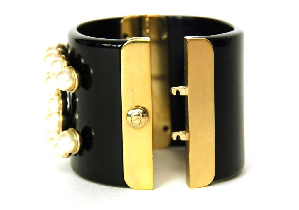 CHANEL Black Resin Clamper Cuff W. Faux Pearl CC & Gold Hinges c. 2013 4