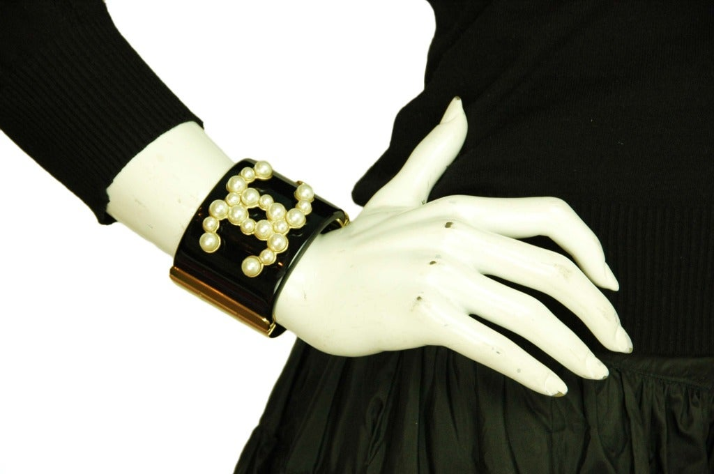 CHANEL Black Resin Clamper Cuff W. Faux Pearl CC & Gold Hinges c. 2013 7