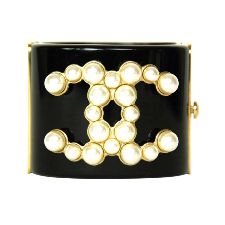 CHANEL Black Resin Clamper Cuff W. Faux Pearl CC & Gold Hinges c. 2013 1