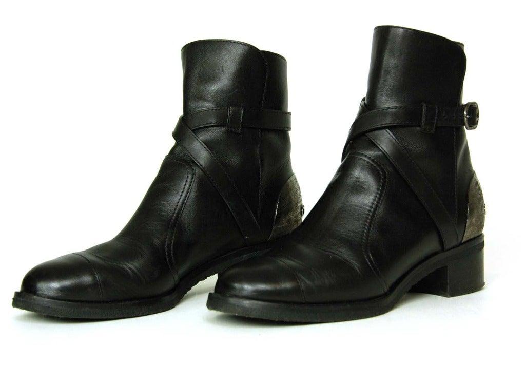 CHANEL Black Leather Boots W/Criss Cross Strap & Metal Plate On Heel - Sz 8 3