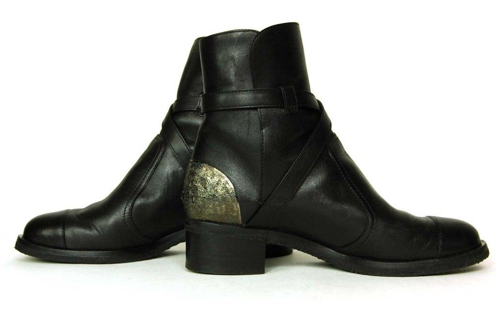 CHANEL Black Leather Boots W/Criss Cross Strap & Metal Plate On Heel - Sz 8 4