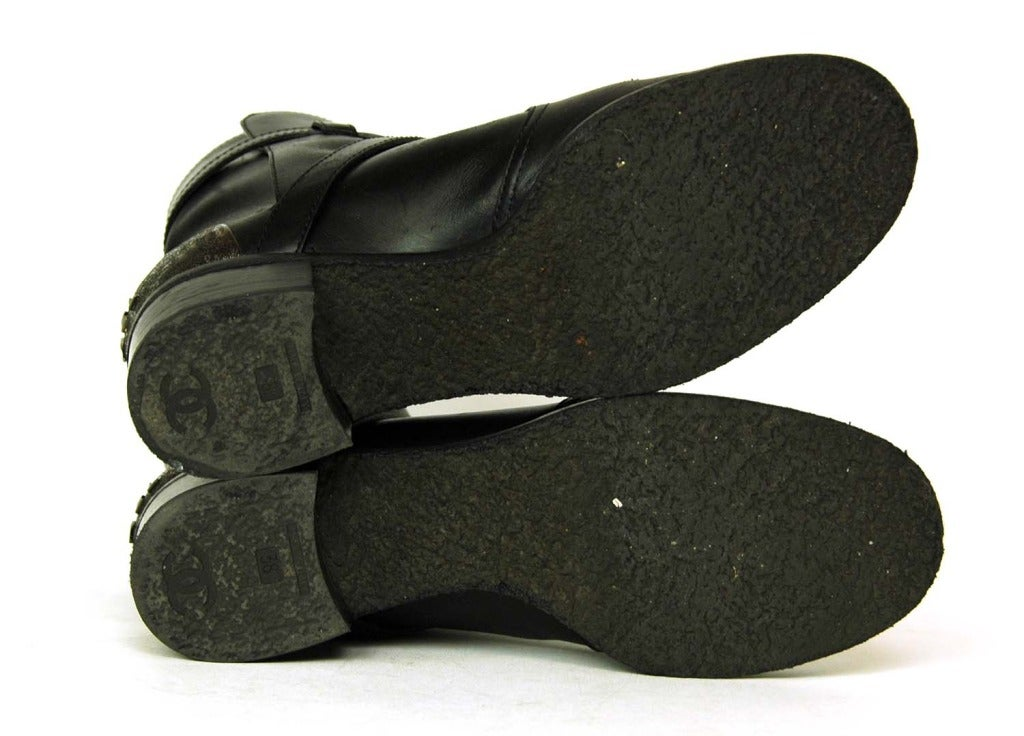 CHANEL Black Leather Boots W/Criss Cross Strap & Metal Plate On Heel - Sz 8 6