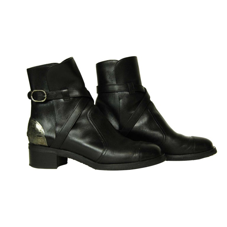 Chanel Black Leather Boots W Criss Cross Strap And Metal