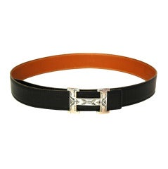 HERMES Sterling Touareg H Buckle With Black Leather Belt