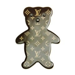 LOUIS VUITTON Limited Edition Brown Monogram Resin Teddy Bear Pin