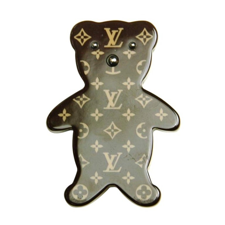 louis vuitton limited edition brown monogram resin teddy bear pin at 1stdibs