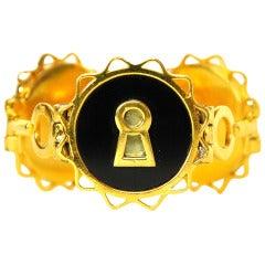 CHANEL Vintage Black & Gold Lock & Key Medallion Bracelet c. 1960's
