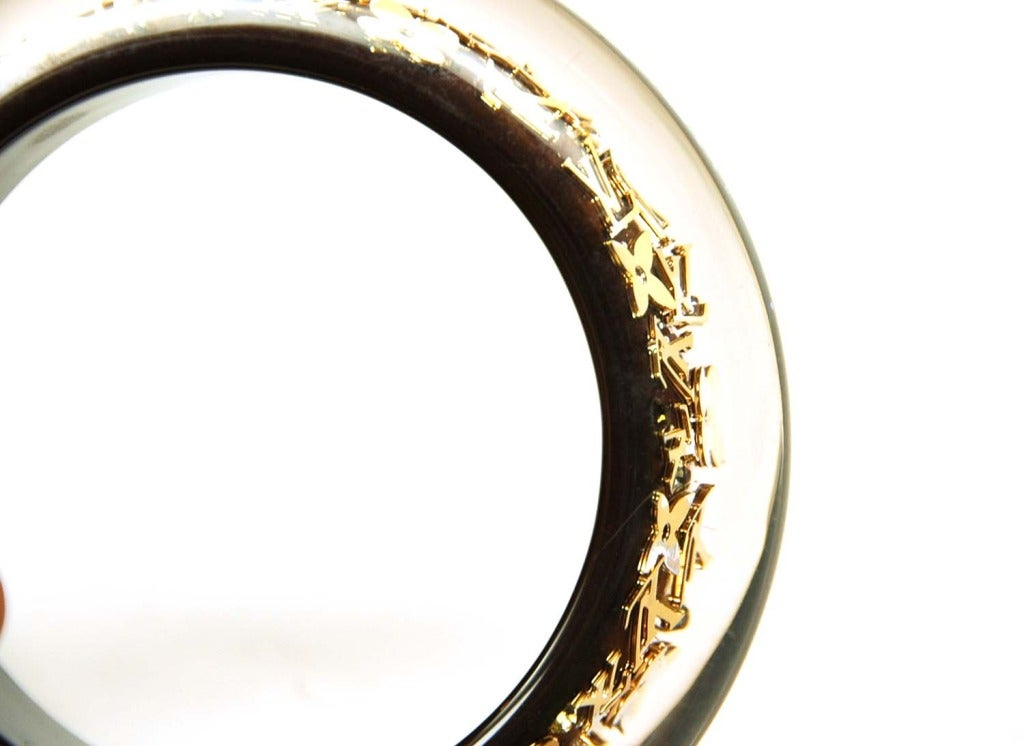 LOUIS VUITTON Brown and Gold Resin Bangle W. Logo Print ...