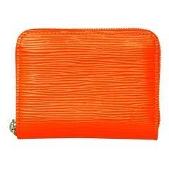 LOUIS VUITTON Orange Epi Leather Zip Around Coin Purse (Rt. $425)